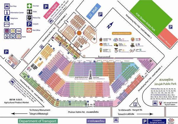 Карта рынка Чатучак в Бангкоке (Тайланд)