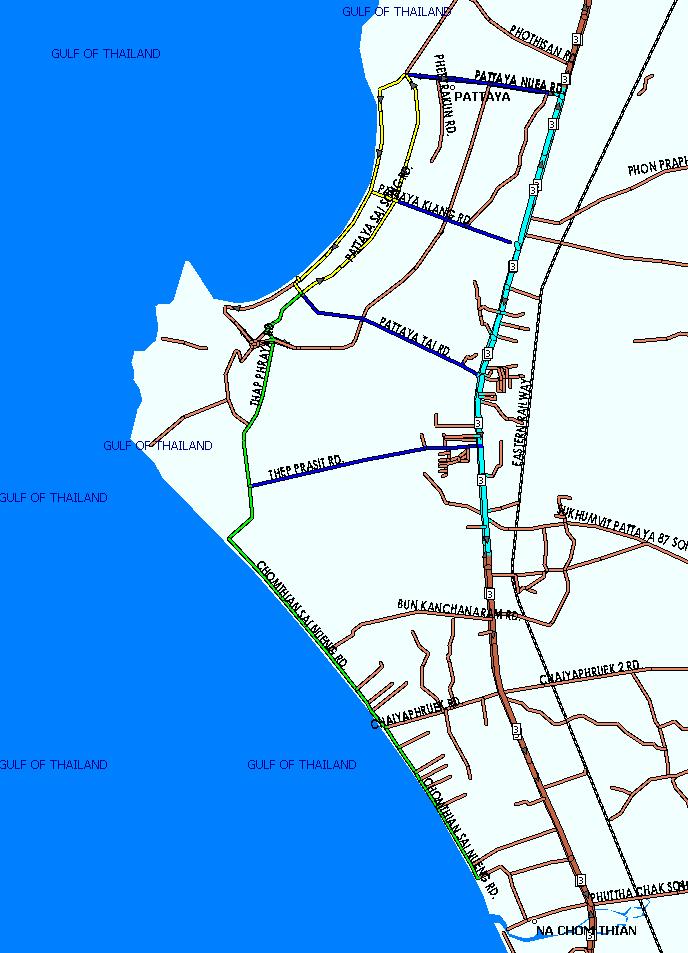 Карта с маршрутами тук туков в Паттайе
